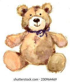 Watercolor Teddy Bear Hand Painted Illustration on White Background