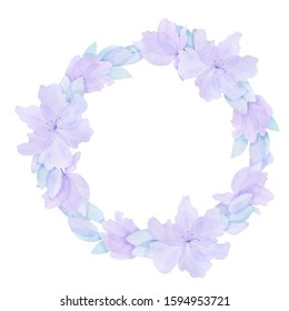 Watercolor tender bridal wreath; lovely lilac lilies and leaves on white background.