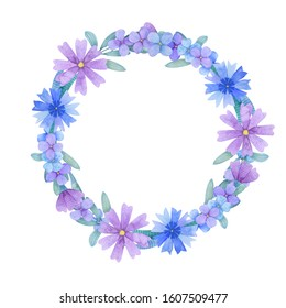 Watercolor tender flower wreath; lovely lilac lilies, knapweed, cornflowers, hydrangea petals and leaves on white background.