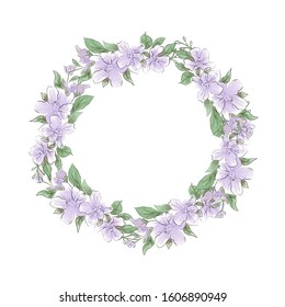 Watercolor tender wreath of lilac flowers