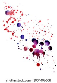 Нand-drawn watercolor texture with brush  splashes, drops, smudges, spots, blots on the white surface of the  paper