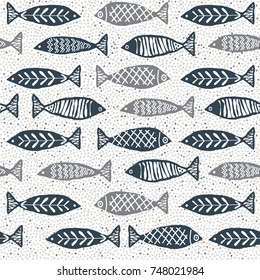 Watercolor texture fish pattern
