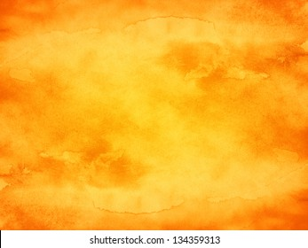 Watercolor texture orange background. Abstract aquarelle backdrop pictured. Image of horizontal format. Paintbrush hand made technique.