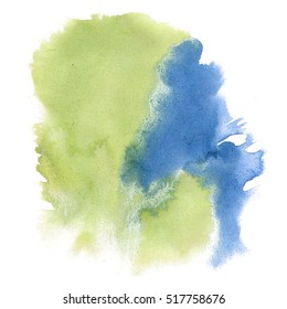 watercolor textured backdrop, abstract watercolor green blue hand paint texture, isolated on white background, watercolor drop