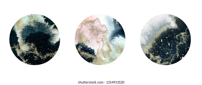 Watercolor Textured Planet Set - round compositions with gold brush stroke. Unique collection for wedding invites decoration, logo and many other concept ideas.