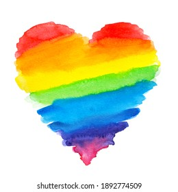 Watercolor textured rainbow heart on white isolated background.