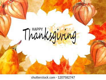 Watercolor thanksgiving frame. Could be used as a template for postcards, invitations, price tags, decoration purposes.