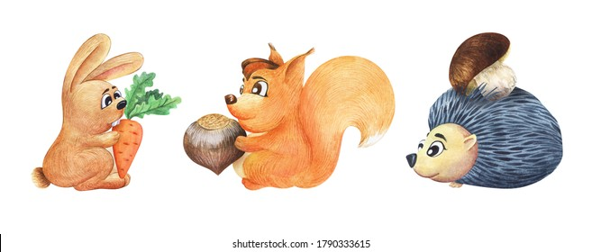 Watercolor three cute cartoon animals with their favorite food isolated on white background. Rabbit holding big carrot, funny squirrel with hazelnut and friendly hedgehog with boletus in his needles