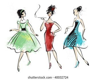 Watercolor of three fashionably dressed woman.