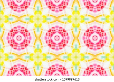 Watercolor Tie Dye Seamless Pattern. Tie Dye Vintage Wallpaper. Spanish Porcelain. Azulejos Faience in Red Color. Artistic Handdrawn Textile. Abstract Watercolor Tie Dye Background.