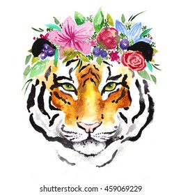 Watercolor tiger with flowers on head. Beautiful wreath on wild animal. Watercolor hand drawn illustration