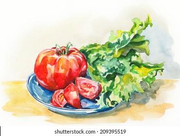Watercolor tomato and lettuce