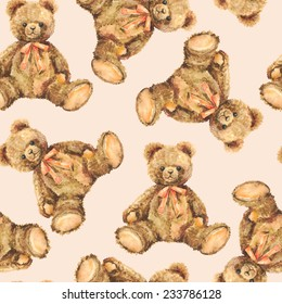 Watercolor Toy Teddy Bear seamless pattern.