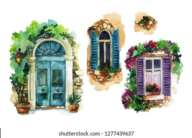 Watercolor traditional old-fashioned door and windows with potted flowers, brick stones, lantern. Rustic house set isolated on white background. Hand painted illustration in vintage style