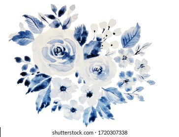 Watercolor transparent blue flowers on white background