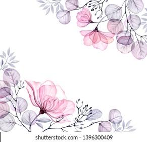 Watercolor Transparent floral bouquet arrangement of roses, bellflower, buds, leaves, branches in pastel pink, grey, blue, violet, purple vintage ornament, border, corner, wedding design, frame