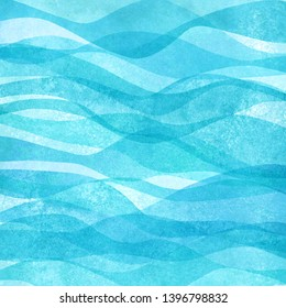 Watercolor transparent sea ocean wave blue teal turquoise colored background. Watercolour hand painted waves illustration. Banner frame backdrop splash design. Grunge color cover. Space for logo, text