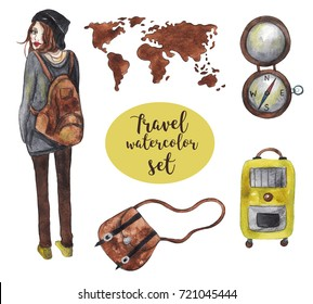 Watercolor travel set on white isolated background. Cute girl with brown hair, bag, world map, compass and suitcase