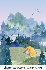 watercolor travel theme background mountain image camping foggy forest nature landscape clipart printable art hand drawn yellow bus tent