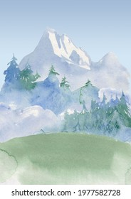 watercolor travel theme background, mountain image. camping, foggy forest, hand drawn nature, landscape clipart, printable art