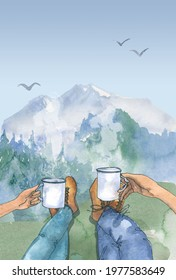 watercolor travel theme background, mountain image. camping, foggy forest, nature landscape clipart, printable art hand drawn camper