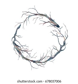 Watercolor tree branches wreath. Isolated design element for card, poster, print or label. Graphic Halloween border