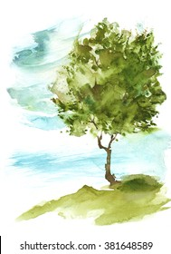 Watercolor tree on the hill. Lonely green tree. Summer.