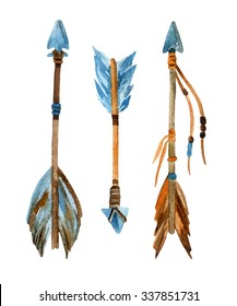 Watercolor tribal arrows set. Hand drawn vintage illustration with arrows.