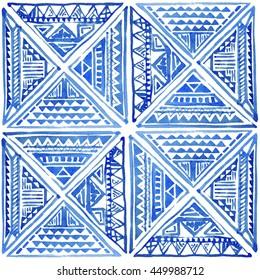 Watercolor tribal batik ornamental pattern. Seamless watercolor oriental pattern.