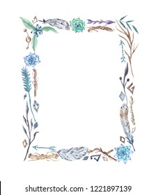 Watercolor Tribal Boho Frame with Feathers and Flowers Hand painted aztec tribal natural card with border made of brown twigs and wild plants
