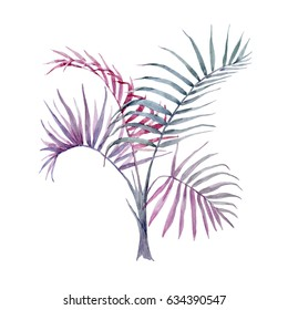 Watercolor tropical  abstraction of bright palm trees. Summer print