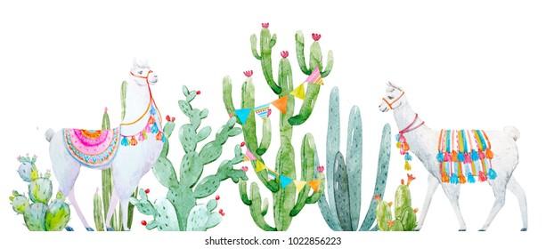 Watercolor tropical baner cactus, cute llama, Mexican print, multi colored triangular flags