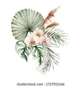 Watercolor tropical bouquet with orchids and palm leaves. Hand painted flowers, coconut and monstera leaves, pampas grass. Floral illustration isolated on white background for design, print.