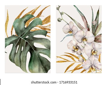 Watercolor tropical cards with orchids, golden palm leaves and monstera. Hand drawn bouquets isolated on white background. Floral illustration for design, print or background. Greeting template.