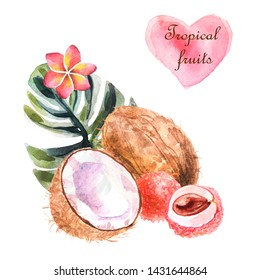 Watercolor tropical composition with coconut, lychee and palm leaf on a white background