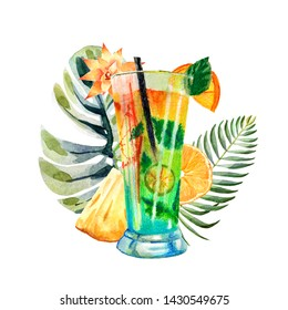 Watercolor tropical composition with summer cocktail on a bright background with fruits, palm leaves and flowers