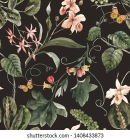 Watercolor tropical exotic pattern with orchid, green leaves. Butterflies, dark background