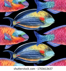 Watercolor Tropical Fish seamless pattern on background. Watercolor texture. Cloth & rug design.  Used for pattern fills, web page backgrounds.