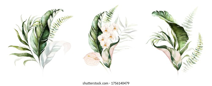 Watercolor tropical floral bouquet set - green & gold leaves, blush flowers. For wedding stationary, greetings, wallpapers, fashion, background.