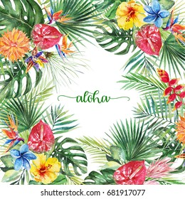 Watercolor tropical floral illustration - flower and leaf arrangement border frame for wedding, anniversary, birthday, invitations, cards, dates, etc. Aloha!