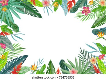 Watercolor tropical floral illustration. Flower and leaf arrangement border frame for wedding, anniversary, birthday, cards, dates, etc.