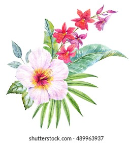 Watercolor tropical flower, hibiscus flower, orchid, palm leaves, white plumeria, flower composition isolated