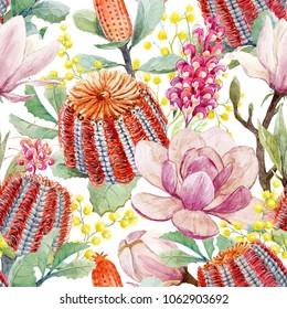 Watercolor tropical flower pattern, orange flowers of bucksia,  red flowers Grevillea, yellow mimosa, magnolia,Banksia coccinea