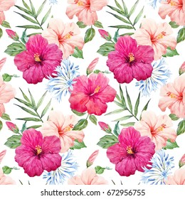 Watercolor tropical flower pattern with pink and purple hibiscus, palm leaves, Buds and leaves. Agapanthus blue