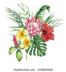Watercolor tropical flowers and leaves bouquet. Hand painted protea, hibiscus and plumeria isolated on white background. Nature botanical illustration for design, print. Realistic delicate plant