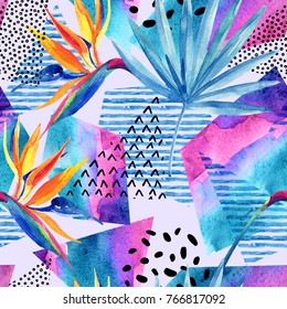 Watercolor tropical flowers on geometric background with doodles, lines, geometrical shapes. Hand drawn bird-of-paradise flower with leaves with elements in minimal style. Watercolour art illustration