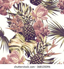 Watercolor tropical flowers, palm leaves, pineapples, exotic jungle leaves, pink lotus, orchid, bird of paradise flower. Beautiful seamless floral pattern background, wallpaper