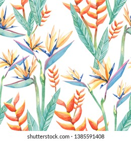 watercolor tropical flowers sterilizes und branches . Seamless pattern tropical plant hand drawn illustration