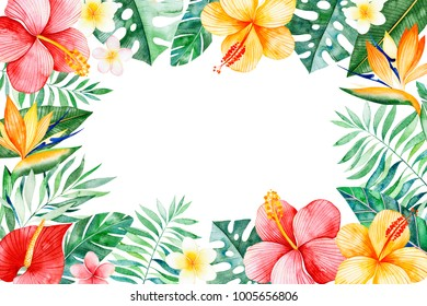 Watercolor tropical frame border.Texture with greens,branch,exotic flowers,tropical leaves,foliage,palm leaves.Perfect for wedding,invitations,greeting cards,quotes,pattern,logos,Birthday cards,print