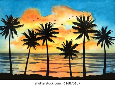 Watercolor tropical landscape with ocean, blue sky, orange clouds and the silhouette of the palms at the sunset